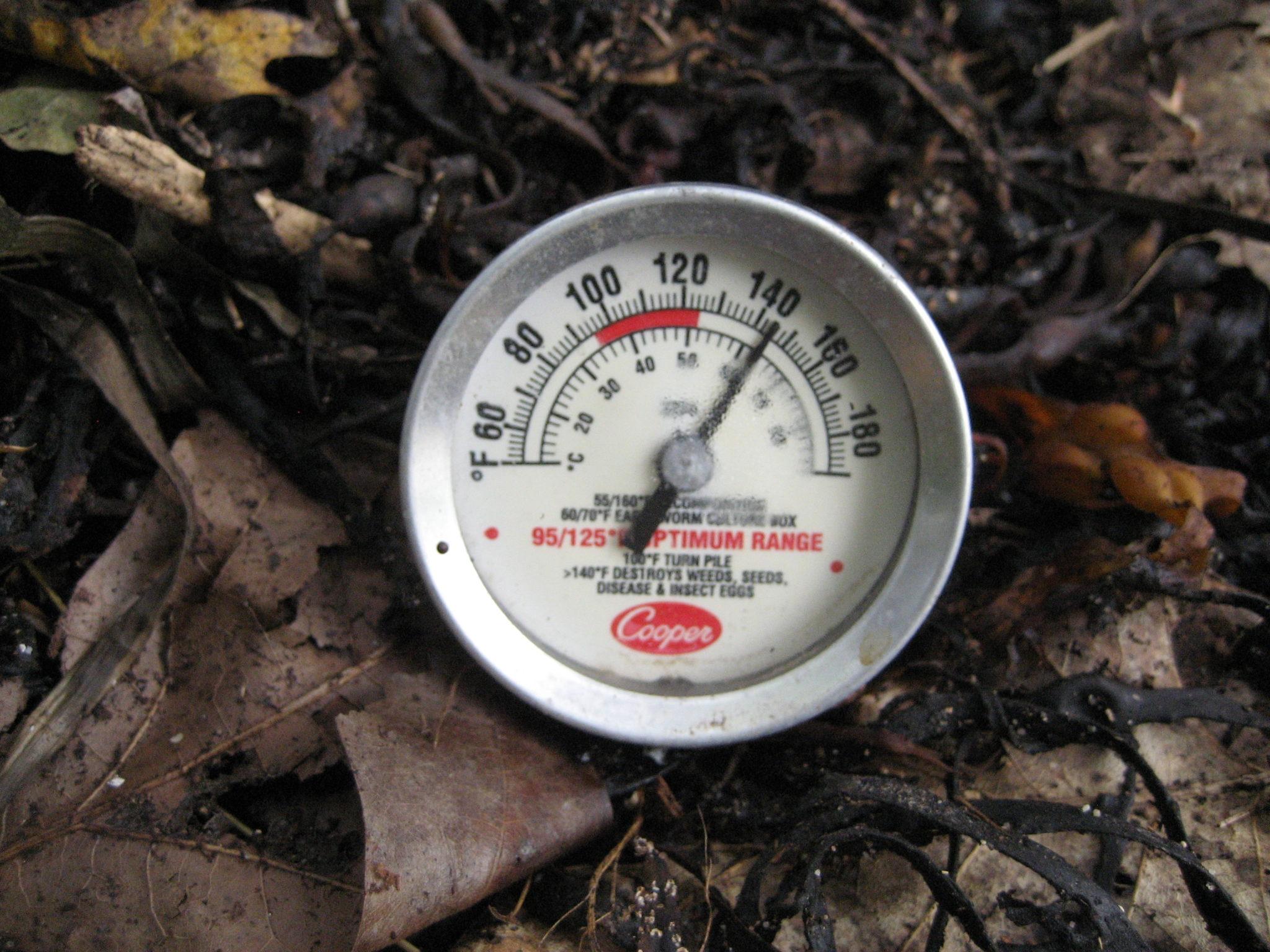Compost-Heated Shower temperature gauge