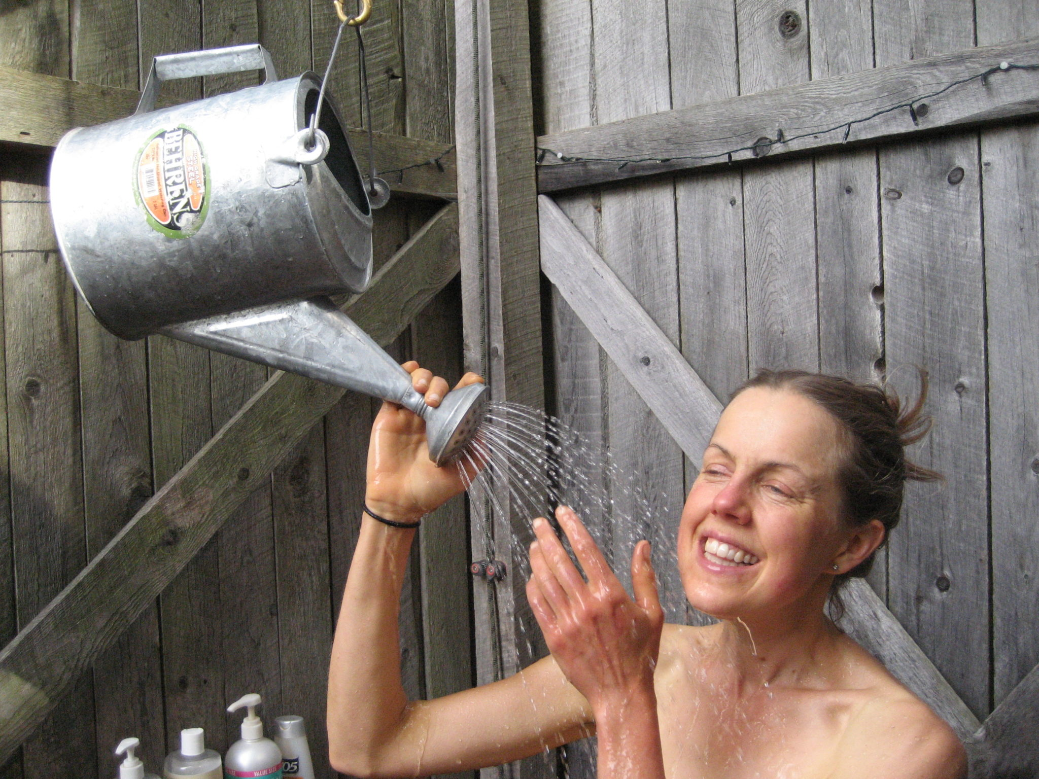 Compost-Heated Shower in Use